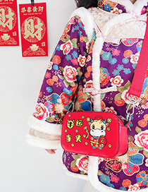 Fashion Ox Luck Calf Print Childrens One-shoulder Messenger Bag