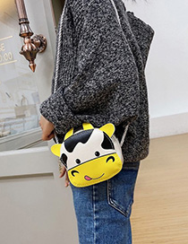Fashion Yellow Calf Print Childrens One-shoulder Messenger Bag