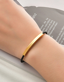 Fashion Grey Rope Rose Gold Lettering Braided Rope Stainless Steel Bracelet