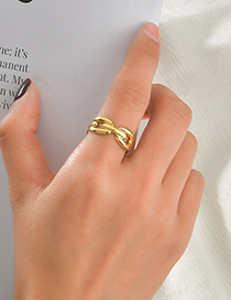 Fashion Gold Color 304 Stainless Steel 15k Gold O Word Open Ring