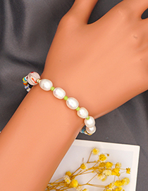 Fashion Green Colorful Rice Beads Pearl Beaded Bracelet