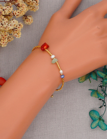 Fashion Gold Color Pearl Stone Rice Bead Beaded Bracelet