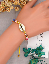 Fashion Yellow Colored Millet Beads Paint Shell Bracelet
