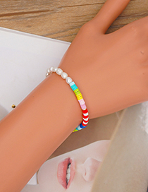 Fashion Section 3 4mm Rainbow Soft Pottery Pearl Beaded Bracelet