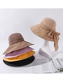 Fashion Beige Knitted Stitching Large-edge Bow Sun Hat