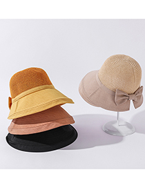 Fashion Khaki Stitched Breathable Knitted Top Sunhat