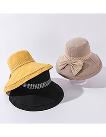 Fashion Beige Color Matching Plaid Bow Large-brimmed Sunhat