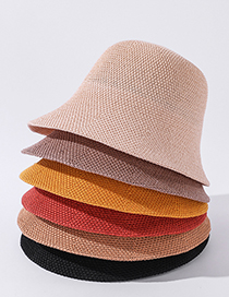 Fashion Yellow Solid Color Woven Fisherman Hat
