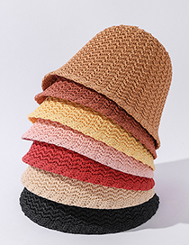 Fashion Korean Fan Hemp Rope Knitted Corrugated Solid Color Sun Hat