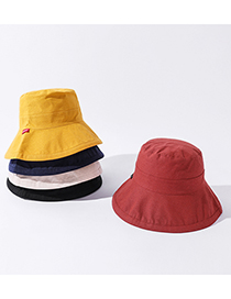 Fashion Yellow Big Edge Solid Color Cotton And Linen Shade Fisherman Hat