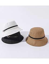 Fashion Khaki Solid Color Belt Buckle Sunshade Fisherman Hat