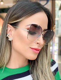 Fashion Gold/gradient Tea Metal Sunglasses