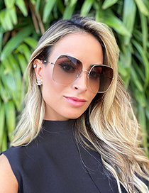 Fashion Gold/upper Gray And Lower Red Metal Diamond Large Frame Sunglasses