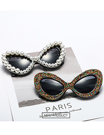 Fashion Fancy Diamond/bright Black/transparent Butterfly Pearl Rhinestone Sunglasses