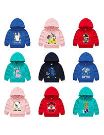Fashion Navy Blue 9 Childrens Hooded Cartoon Pattern Sweater