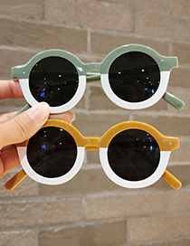Fashion Matte Gray Color Block Round Frame Childrens Candy Sunglasses