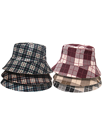 Fashion Large Grid-brown Red Double-sided Sun Hat