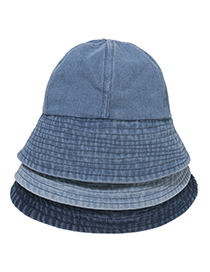 Fashion Light Blue Washed Denim Pleated Fisherman Hat
