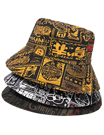 Fashion Gold Color Letter Printed Sunshade Fisherman Hat With Rope