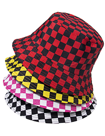 Fashion Rose Red Tartan Cotton Sunshade Fisherman Hat