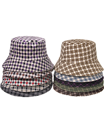 Fashion Plaid-purple Visor Lattice Letter Fisherman Hat