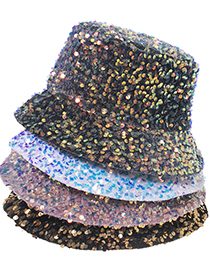 Fashion Rhombus-gold Color Small Sequined Leopard Pattern Fisherman Hat