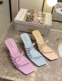 Fashion Violet Candy-colored Square-toe Slippers With A Bowknot