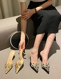 Fashion Apricot Baotou Half Drag Pointed Slippers