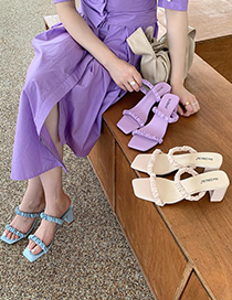 Fashion Violet Folded Word Belt Chunky Heel Shoes