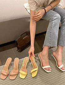 Fashion Apricot Transparent High Heels With Thick Heel