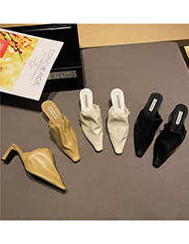 Fashion Off White Slippers With Small Square Toe And Thick Heel