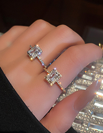 Fashion Silver Color Real Gold Electroplated Diamond Zircon Open Ring