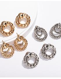 Fashion Multi-round Platinum Circle Three-dimensional Multi-round Earrings