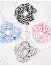 Fashion Blue Houndstooth Fabric Check Hair Tie