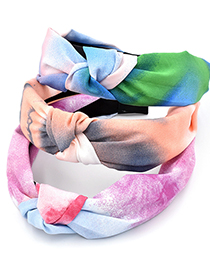 Fashion Blue Pink Rainbow Ink Color Fabric Knotted Headband