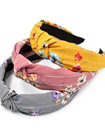 Fashion Korean Pink Golden Plum Blossom Knotted Broad-brim Flower Headband