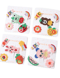 Fashion Frog Knitted Embroidery Animal Hairpin Set For Children