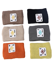 Fashion Brown Knitted Woolen Embroidery Letter Wide-sided Headband