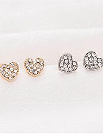 Fashion Silver Color Alloy Geometric Diamond Love Stud Earrings