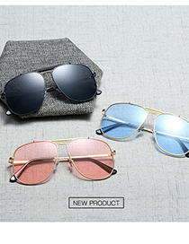 Fashion C5 Gold/blue Film Candy-colored Metal Sunglasses