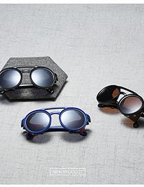 Fashion C7 Sand Black/full Gray Round Rivet Sunglasses
