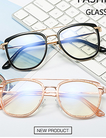 Fashion C13 Leopard Print/anti-blue Light Tr95 Big Frame Round Frame Metal Legs Anti-blue Glasses Can Be Equipped With Myopia