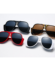 Fashion C04 Red Large Frame Oval Sunglasses