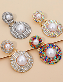 Fashion Ab Color Alloy Pearl And Diamond Round Earrings