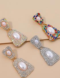 Fashion Ab Color Alloy Diamond Pearl Geometric Shape Stud Earrings