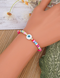 Fashion Yellow 4mm Colored Soft Clay Multi-color Glaze Eye Beads Bracelet