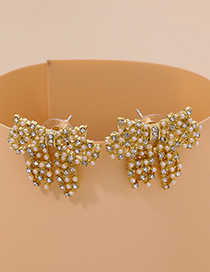 Fashion Gold Color Alloy Diamond Pearl Hollow Bow Earrings