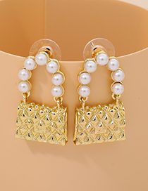 Fashion Gold Color Alloy Pearl Satchel Earrings