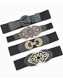 Fashion Black 4 Carved Double Buckle Elastic Elastic Belt