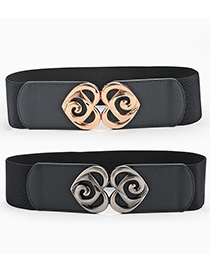 Fashion Gun Buckle-black Peach Heart Double Buckle Elastic Woven Belt